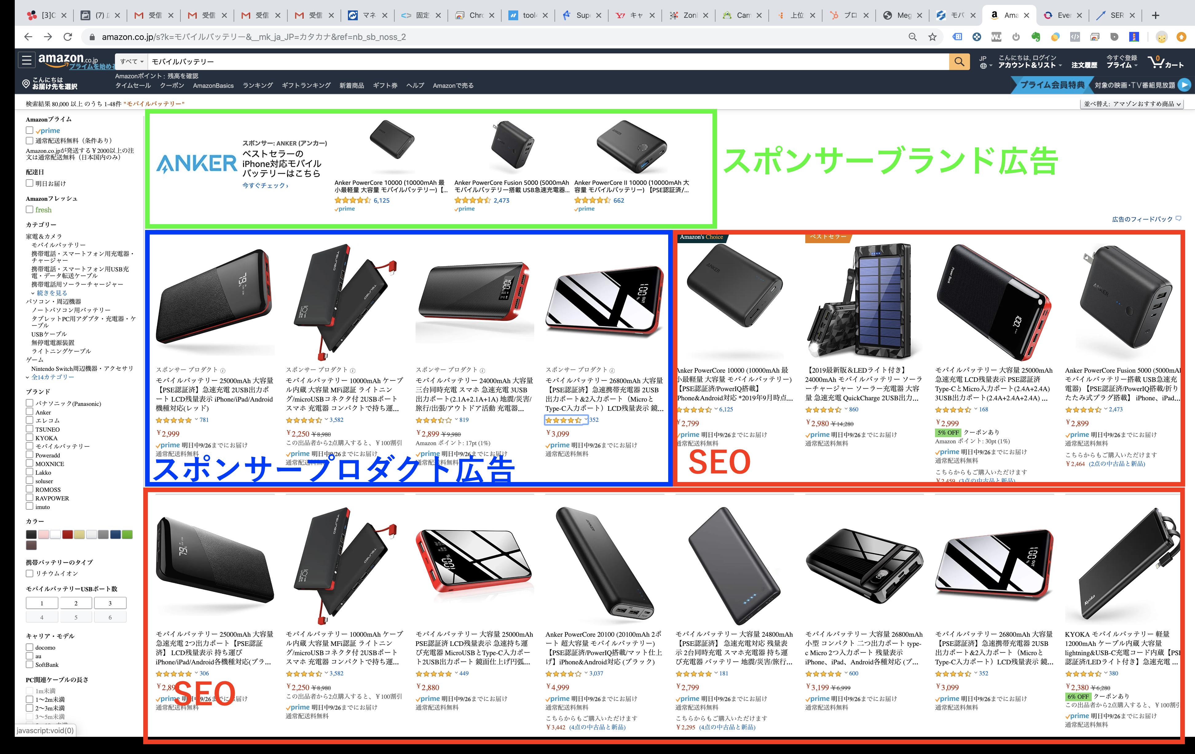 amazonのSERP分類